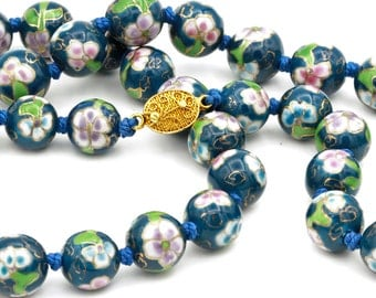 Porcelain Beaded Necklace, Antique 30s Chinese Jewelry, Flowers Necklace, Hand Knotted Necklace, Blue Pink Floral Necklace, Asian Jewelry