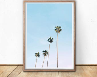 Palm Trees Print - Tropical Decor, Digital Download, Printable Poster, Tropical Leaves, California Wall Art, Hawaii Art, Minimalist Palm Art
