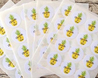 96 custom name pineapple stickers. Pineapple seals. Envelope seals pineapple fruit sticker. Pineapple envelope seal. Wedding invite seal