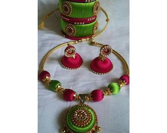 Silk Thread Jewellery Set (Bangles, Necklace & Earrings) / Indian Bangles / Silk Thread Bangles
