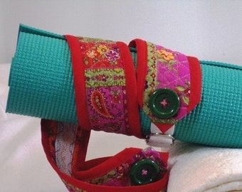 Yoga Mat Strap Yoga Mat Sling Red Quilted YS-13