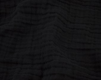 Embrace Double Gauze Fabric in Black - 100% cotton muslin swaddle fabric by the yard