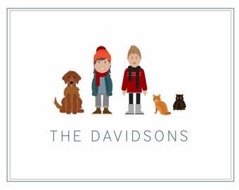 Custom Digital Family Portrait Illustration - 5 Characters