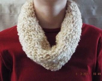 Fuzzy Knit Infinity/Eternity Scarf Women's Accessories Cream