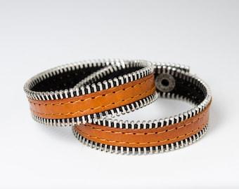 Zipper bracelet - zip bracelet - leather bracelet - wrap bracelet - Cuff bracelet - layering bracelets - sewing bracelet