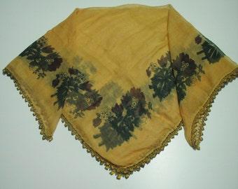 Vintage Turkish oya scarf ,beaded crocheted edging scarf,beaded trim,beaded crocheted trim scarf,traditional scarf,antique Turkish headscarf