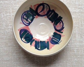 Vintage handpainted pottery bowl