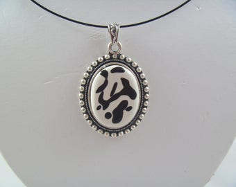 Ceramic Necklace in Antiqued Silver