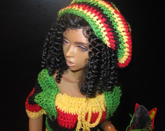 Dollmore Model F OOAK 5-piece Summer Jamaican Rasta style hand-crafted mini dress, hat, bag, sandals (flat feet), towel.  65+cm tall SD BJD