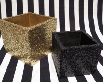 FREE SHIPPING - Black and Gold Glitter Planters // Pencil Cups
