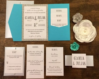 Turquoise And Silver Pocket Invitation With Belly Band Wedding Glitter