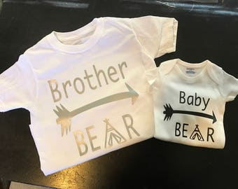 Brother Bear and Little Bear Shirts, Personalized Big Brother Little Brother Shirts, Big Brother Shirt, Little Brother Shirt, Matching Shirt