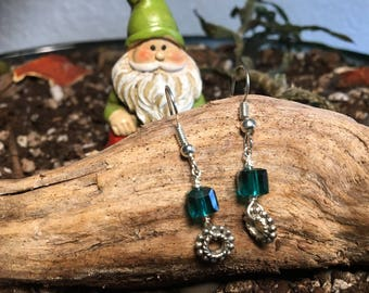 Dark teal square Swarovski Dangle Earrings