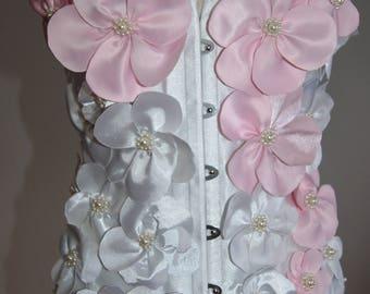 Handmade Over Bust  White Corset