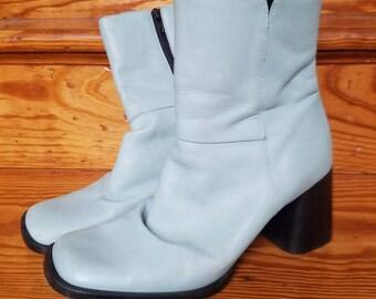 Light Blue Leather Mid Calf Go Go Boots