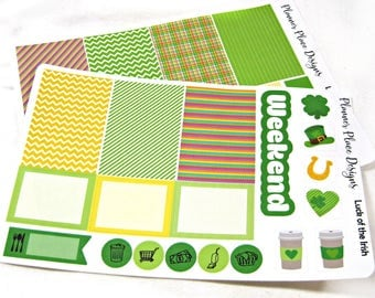 Planner Stickers - Weekly Planner Stickers - Happy Planner Stickers - Day Designer - Functional Stickers - St Patrick's Day Stickers