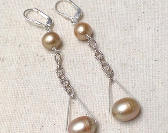 Gold Baroque Pearl Silver Chain dangle chandelier drop earrings