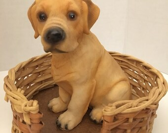 Obo Miniature Wicker Pet Basket With Puppy. Puppy in basket figure. Labrador Retriever pup in basket.