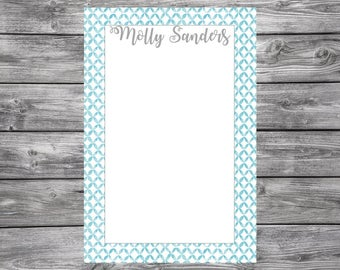 Notepad-Personalized-Blue Trim- 4x6