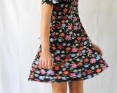 vintage black floral printed button up mini dress