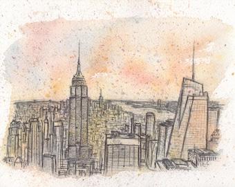 New York #3, biro on watercolour, manhattan, skyline, America, Original Artwork