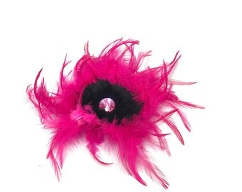 Hot Pink Feather Fascinator Hair Clip