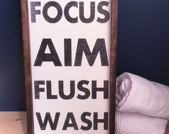 Washroom Sign   Bathroom Sign   Powder Room Sign   Washroom Decor    Focus,aim