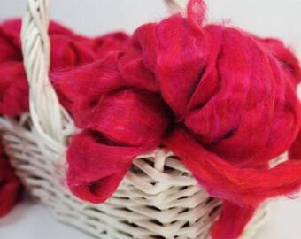 50g Pink Sari Silk Sliver, Silk Fibre, Wet Felting, Nuno Felting, Spinning, Felting Supplies