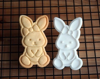 Rabbit with Ribbon Cookie Cutter and Stamp
