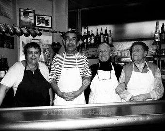 French chefs; Family restaurant; portrait; Paris, France; Black and white; wall art; poster; kitchen; bathroom; bedroom