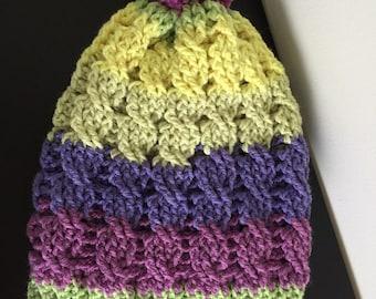 Slouchy beanie, Slouch hat, Women beanie, Crochet Beanie, Hipster Hat, Hat w/pompom, Hipster slouch beanie, Cabled slouch hat, Slouchy Hat