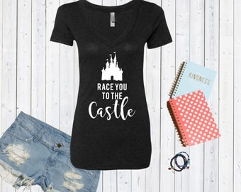 Race You To The Castle Disney Inspired V neck Tshirt / High Quality Disneyland Tshirt / Disneyworld Custom Shirt [E0118,E0161]