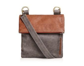 Leather bag, shoulder bag leather handbag, grey leather bag, cognac leather bag, cross body leather bag