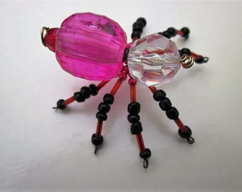 Spider Beaded ,Pink,Clear,Copper,Black.