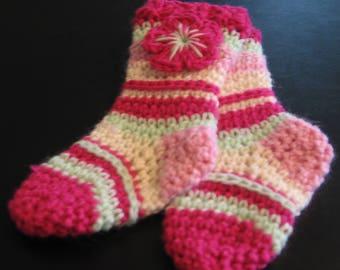 Newborn Knee-High Socks, Baby Girl Socks, Baby Booties, Pink Baby Booties, Pink Baby Socks, Photo Prop Socks