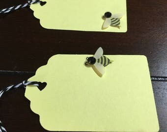Bee Favor Tags, Bee Baby Bridal Shower, Bumble Bee Gift Tags, Bee Favor Tags- 12 per order