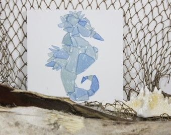 Seaglass Seahorse on White Gesso Board,Wall decor for hanging or leaning,Beach Decor,Coastal,Nautical,Blue and Green Seaglass, Home Decor
