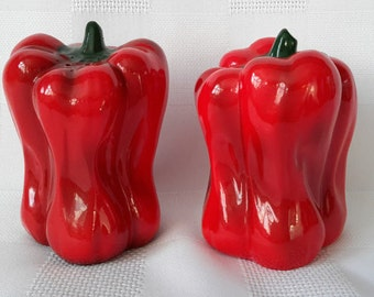 Red Pepper Ceramic Shakers, Japan, c.1960.