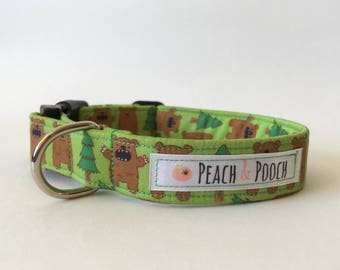 Bear in the Woods Dog Collar & Lead