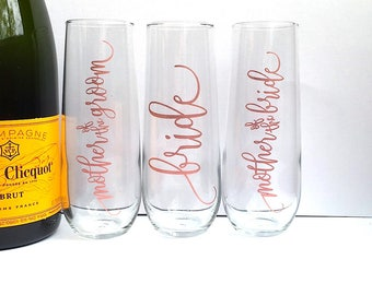 Mother of the Bride Champagne Flute - Personalized Rose Gold Mother of the Groom - Bridesmaid - Maid of Honor - Bride Wedding