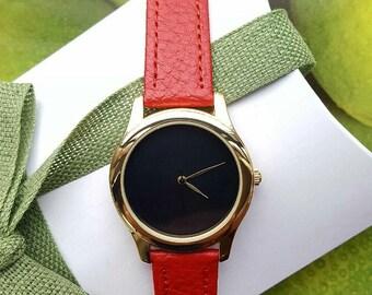 Minimalist Women's Red Watch, Women's Jewellery, Fashion Watch, Handmade Watch, Unique Watch, Valentine's Gift