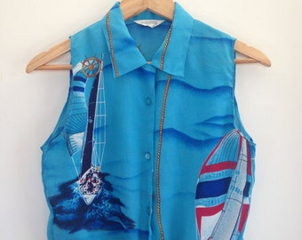 size 8 to 10 nautical themed button up shirt