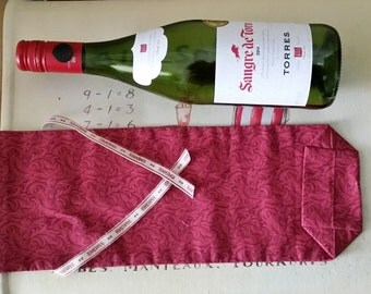 Dark wine coloured bottle bag