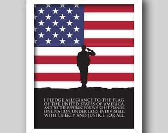 Pledge of Allegiance US Flag – Patriotic Printable, 4th of July, USA *Instant download* [5x7, 8x10, 11x14] Digital Print