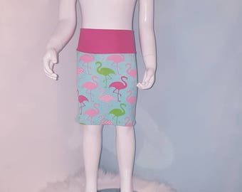 Scalable skirt, 4-6 years and more. Flamingos