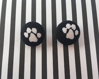 Handmade White Paws on Black Fabric Button Earrings