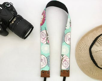 NuovoDesign Eiffel fabric camera neck strap with leather tags