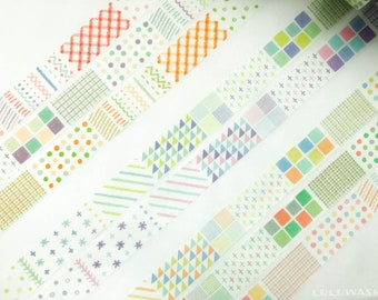 Sample Set - washi tape samples set lovely watercolor basic patterns soft dreamy color 60cm each <W101>