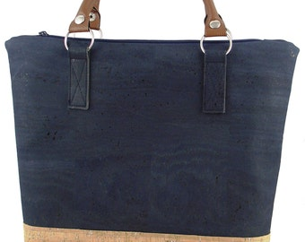 LeKo-design - Cork bag, elegant carrying bag made of Cork and cotton, blue, nature