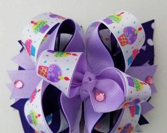 birthday hair bow, 1st birthday hair bow, cupcake hair bow, purple hair bow, happy birthday hair bow, photo accessory, toddler hair bow, bow